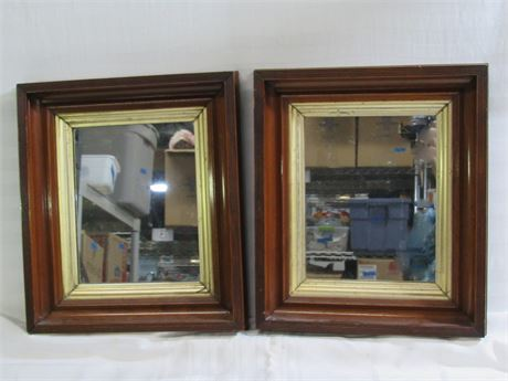2 Small Matching Vintage Mirrors
