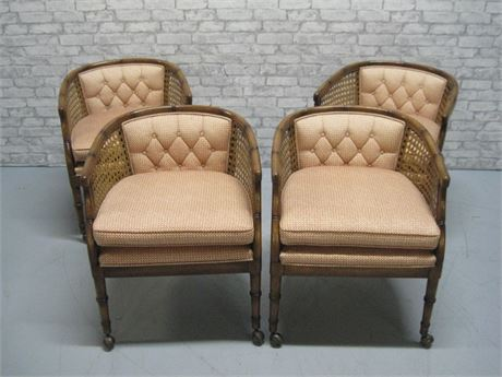 4 FAUX RATTAN CANE SIDE UPHOLSTERED DINING CHAIRS ON CASTERS