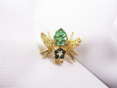 SIZE 7 14K GOLD JEWELED INSECT RING