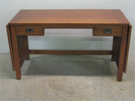 BASSETT MISSION STYLE 2 DRAWER DESK WITH DROP LEAVES