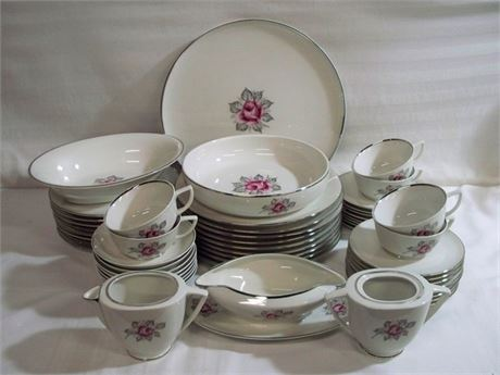 PARIENNE ROYAL JACKSON NORMANDY ROSE CHINA - 53 PIECES