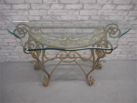 VERY NICE BEVELED GLASS & WROUGHT IRON DEMILUNE/CONSOLE TABLE