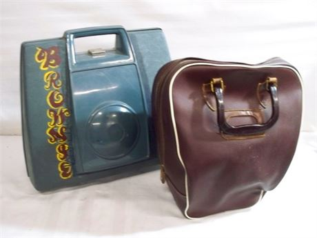 2 VINTAGE BOWLING BALLS WITH BAGS