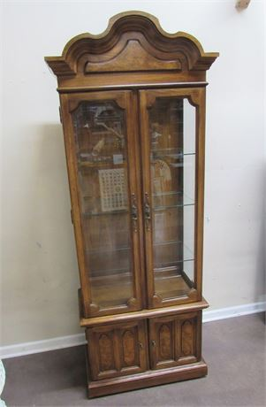 DISPLAY/CURIO CABINET WITH BURL WOOD ACCENTS