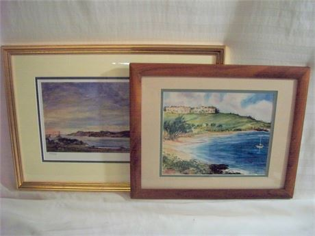 2 FRAMED AND DOUBLE MATTED WATER/SEASIDE PRINTS BOTH SIGNED, 1 NUMBERED