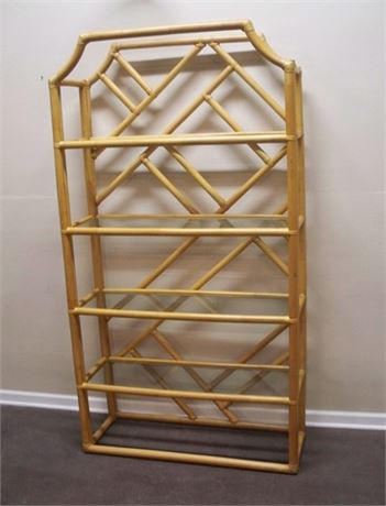 4-TIER RATTAN DISPLAY WITH GLASS SHELVES