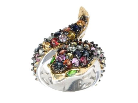 MICHAEL VALITUTTI SIZE 7 STERLING SILVER AND MULTI-COLORED SAPPHIRE SNAKE RING
