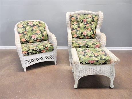 Wicker / Rattan Patio/Sunroom Chairs (2) Matching Ottoman Set