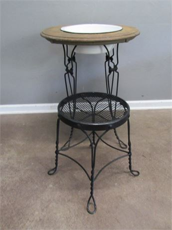 Vintage Washstand with Metal Stool