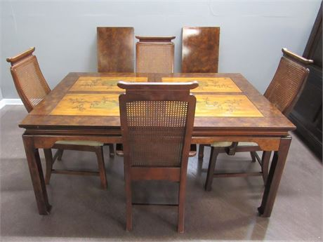 Basset Oriental/Asian Style Dining Table with 4 Chairs and 2 Leaves