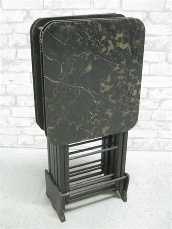 VINTAGE ARTEX BUTLERETTE BLACK AND GOLD FAUX MARBLE TV TRAYS WITH STAND