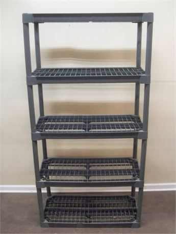 5-TIER GRAY PLASTIC MODULAR STORAGE SHELF