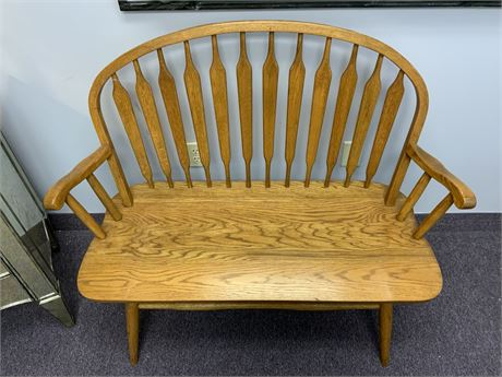 Oak Paddle Back Bench