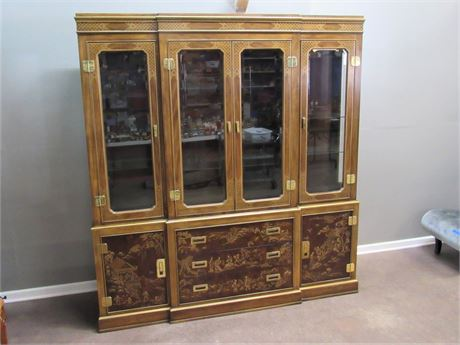 Impressive Drexel Heritage Dynasty Collection 2 Piece Oriental/Asian China Hutch
