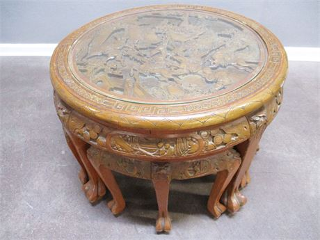VINTAGE CARVED ASIAN TEA TABLE WITH STOOLS