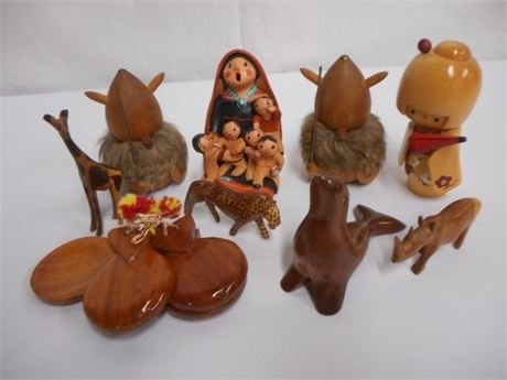 9 PIECE CARVED WOOD LOT - 8 FIGURINES