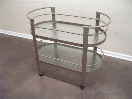 ALUMINUM OUTDOOR/PATIO SERVING CART WITH 2 GLASS SHELVES