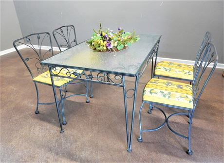 Vintage Patio/Sunroom Wrought Iron and Glass Table and Chairs
