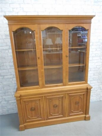 CHINA CABINET WITH ETCHED GLASS DOORS