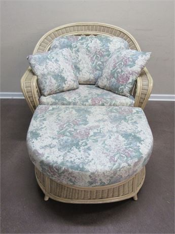 OVERSIZED/CHAIR AND A HALF RATTAN/WICKER CHAIR AND OTTOMAN WITH FLORAL CUSHIONS