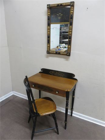 L. HITCHCOCK Writing Desk & Chair with Mirror
