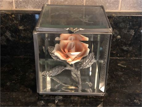 Capodimonte Rose in Beveled Glass Box