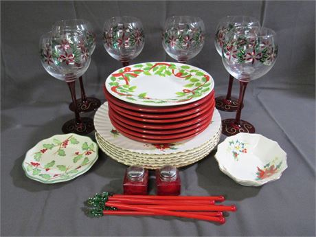 Holiday/Christmas Dinnerware/Glass Lot - 30 Pieces