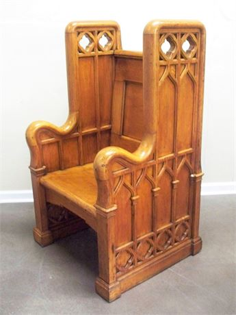 STUNNING MID 1800'S GOTHIC STYLE OAK CLERGY CHAIR