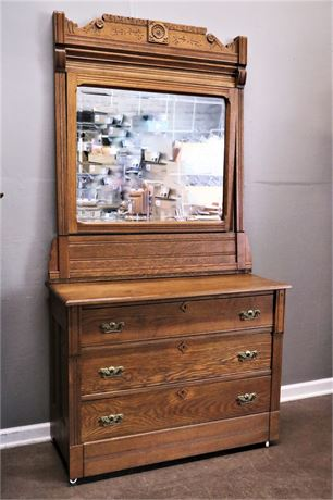 Vintage American Victorian Wood, 3 Drawer Dresser and tilting Mirror.