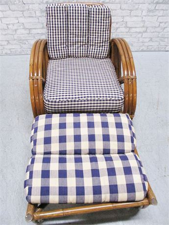 RATTAN SIDE CHAIR WITH OTTOMAN