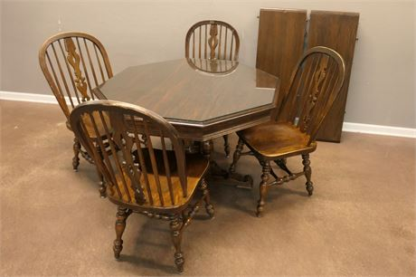 Distressed Wood Table with Octagonal Glass cover & 4 sturdy, solid wood Chairs