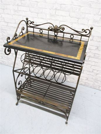 WROUGHT IRON BAKER'S RACK WITH WINE STORAGE