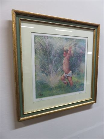 "MARY VICKERS ""Child In Sprinkler"" Artist's Proof (Signed)"