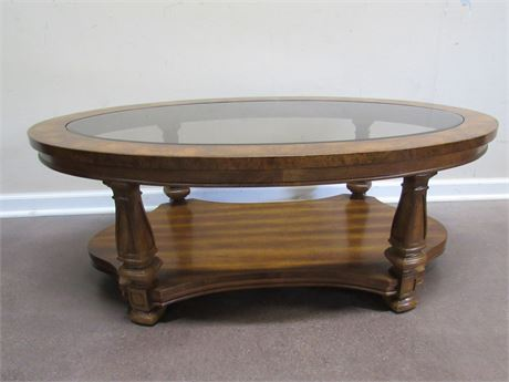 OVAL COFFEE TABLE WITH BEVELED GLASS TOP