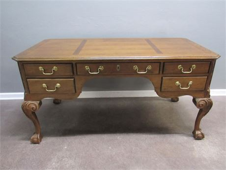 Beautiful Century Furniture Desk with Cabriole Legs and Ball and Claw Feet