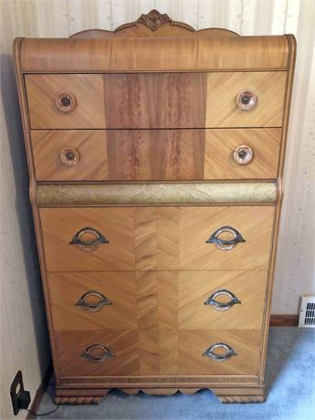 Vintage Parquet Wood Chest of Drawers