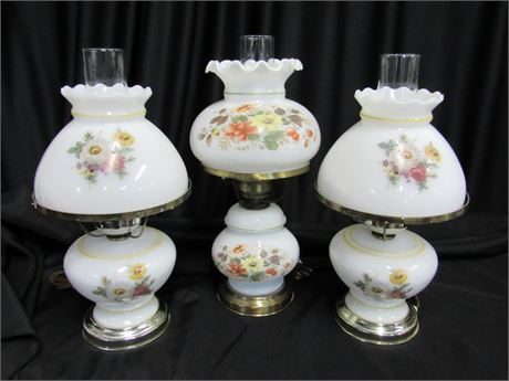 3 Small Floral Student/Hurricane Lamps