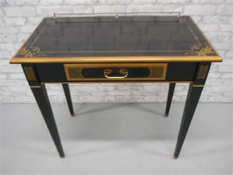 GOLD STENCILED BLACK LACQUER WRITING TABLE