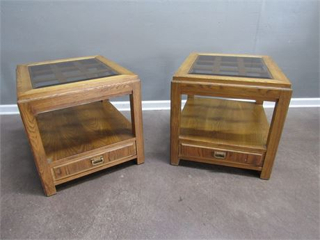 2 Oak End Tables Lattice Tops with Smoked Beveled Glass Tops