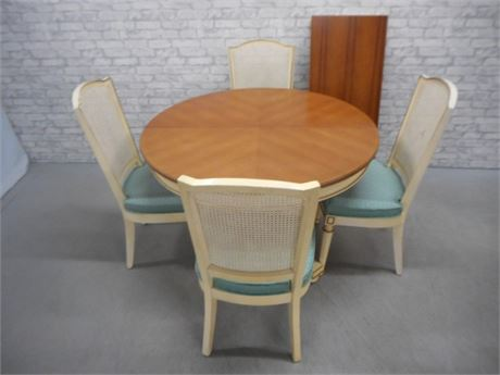 VINTAGE BERNHARDT FRENCH REGENCY DINING TABLE AND 4 CANE BACK CHAIRS