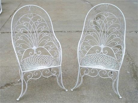 2 VINTAGE PEACOCK STYLE WROUGHT IRON/METAL PATIO CHAIRS