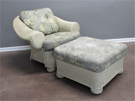 Floral Cushioned Lloyd Flanders Loom Synthetic Wicker Chair with Ottoman