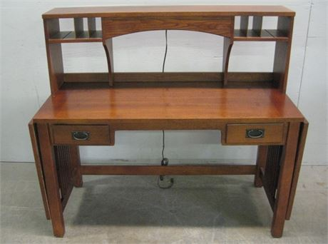 BASSETT MISSION STYLE 2 DRAWER DESK WITH HUTCH