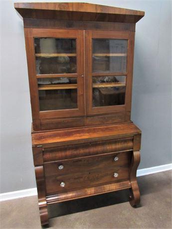 Beautiful Antique Empire Secretary Desk/Hutch with Burl Wood Veneer