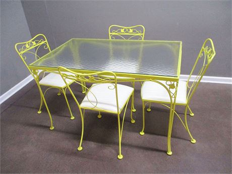 VINTAGE WROUGHT IRON AND GLASS DINING SET