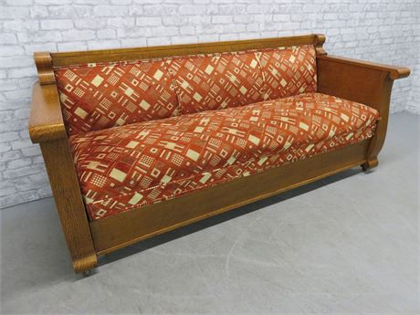 Antique Arts And Crafts Quarter Sawn Oak Mission Sleeper Sofa Bench