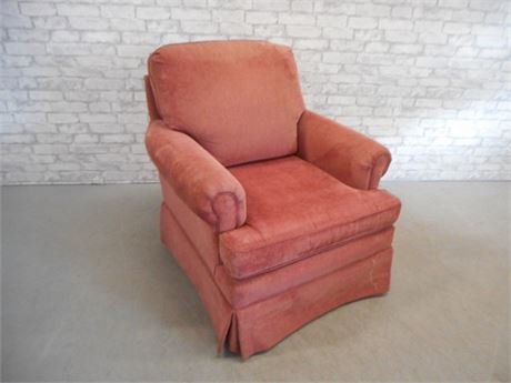 CLAYTON MARCUS VELVET/CORDUROY UPHOLSTERED OCCASIONAL CHAIR