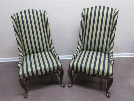 2 MATCHING HIGH-BACKED UPHOLSTERED STRIPED SIDE CHAIRS