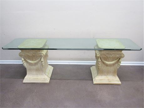 GLASS TOP SOFA TABLE WITH CLASSICAL COLUMN PEDESTALS