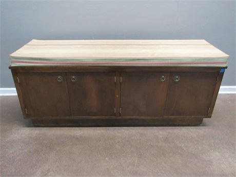 Long Mid Century Storage Bench with Cushion Top